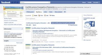 Pagina Facebook Certificazione Energetica Piemonte