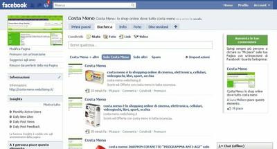 Pagina Facebook Costa Meno Shop